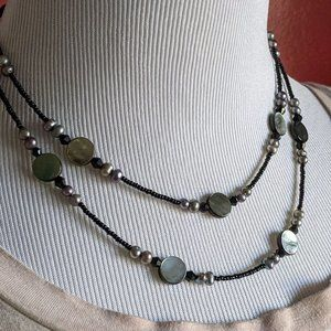 Lia Sophia Shell/ Gray Pearl/ Black Bead Necklace